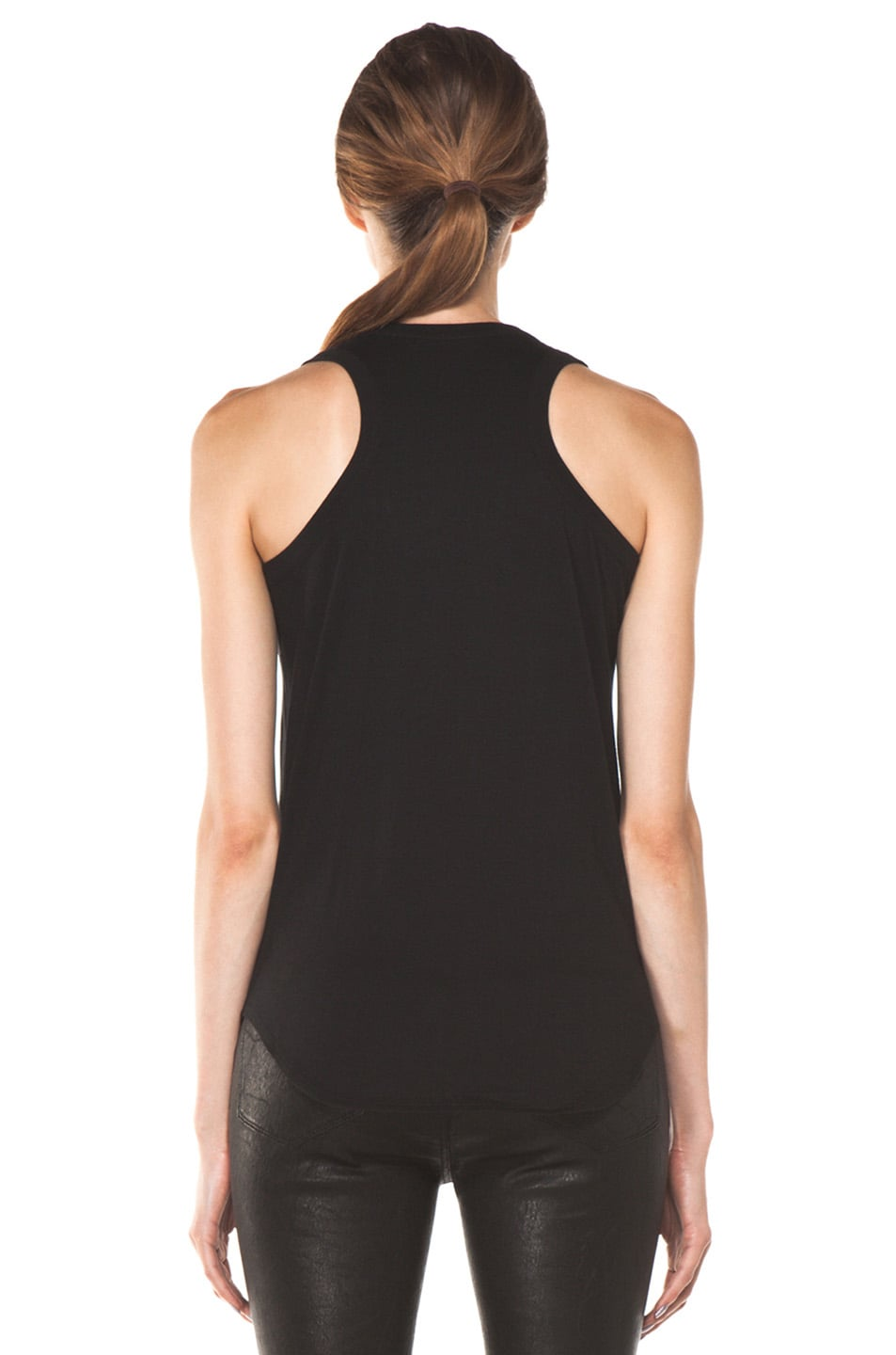 Image 4 of Alexander McQueen Embroidered Flower Tank in Black