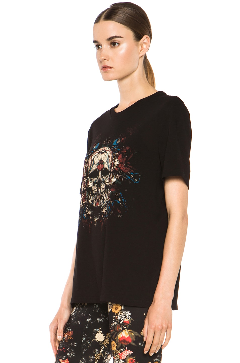 Image 2 of Alexander McQueen Stained Glass Skull Tee in Black