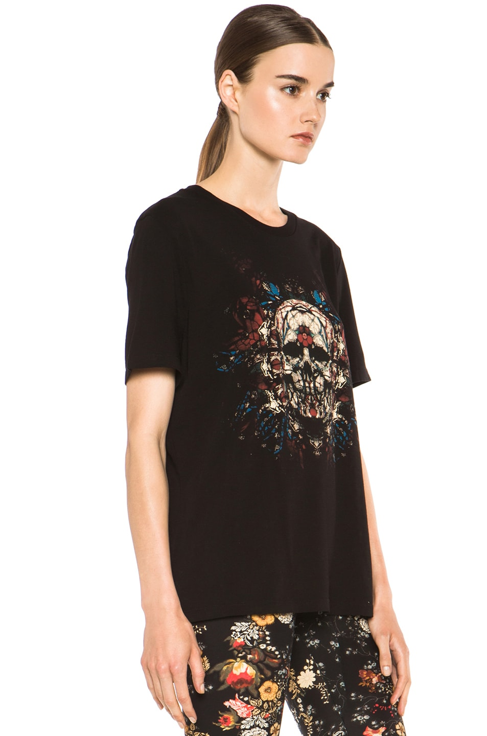 Image 3 of Alexander McQueen Stained Glass Skull Tee in Black