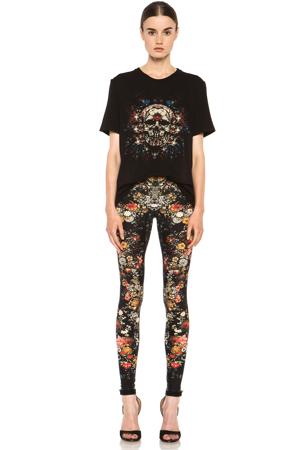 Image 5 of Alexander McQueen Stained Glass Skull Tee in Black