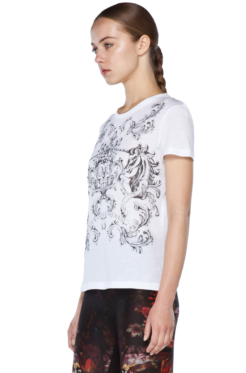 Image 2 of Alexander McQueen Unicorn Skull Tee in White
