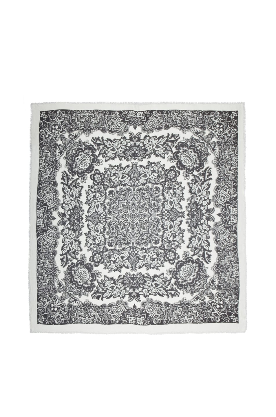 Image 1 of Alexander McQueen Silk Folk Flowers Scarf in Black & White