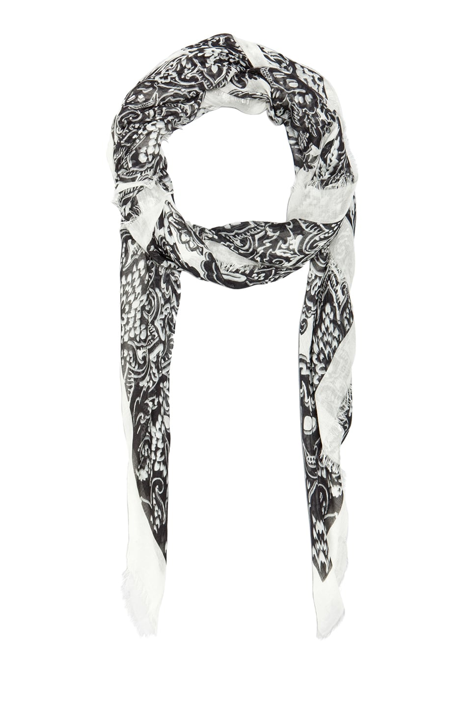 Image 2 of Alexander McQueen Silk Folk Flowers Scarf in Black & White