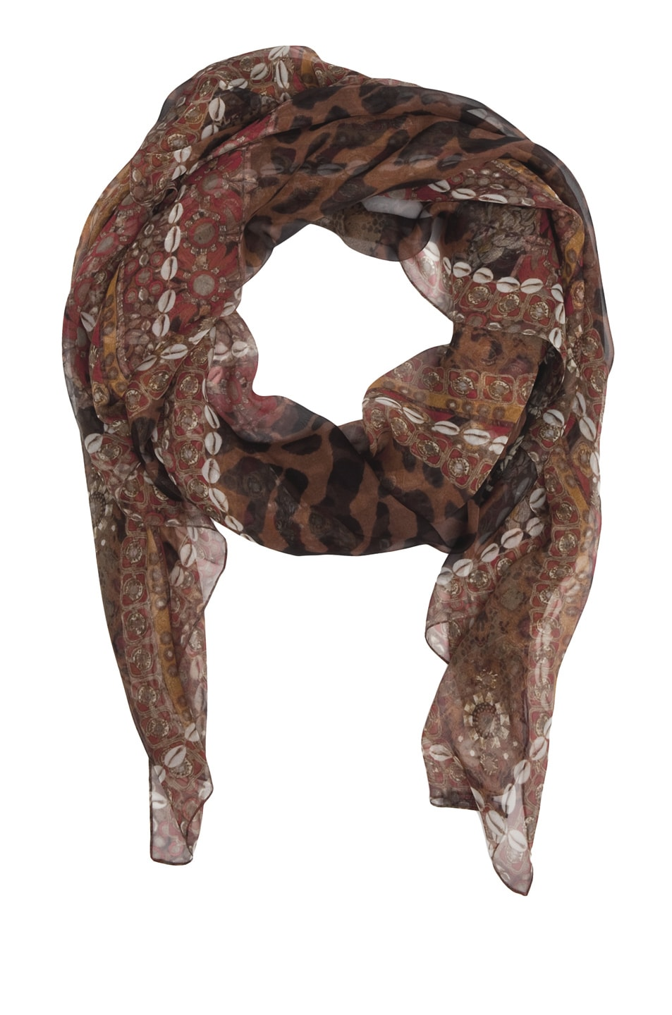 Image 2 of Alexander McQueen Patchwork Scarf in Brown/Black