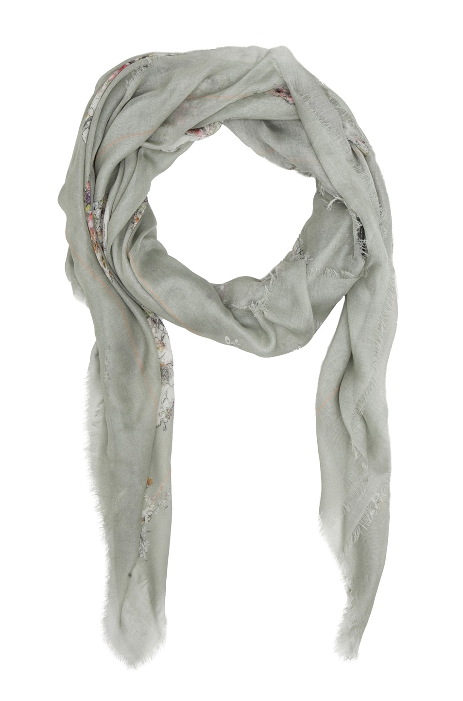 Image 2 of Alexander McQueen Flower Skull Scarf/Medium Grey in Aqua