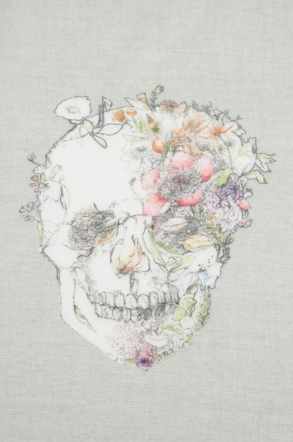 Image 3 of Alexander McQueen Flower Skull Scarf/Medium Grey in Aqua
