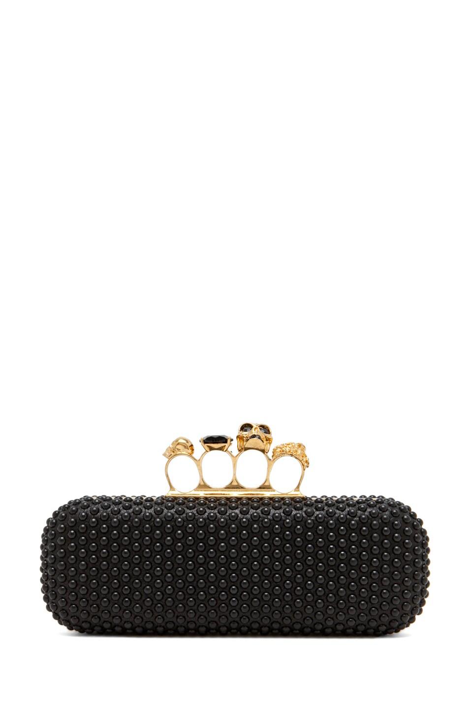 Image 1 of Alexander McQueen Knuckle Box Clutch in Black