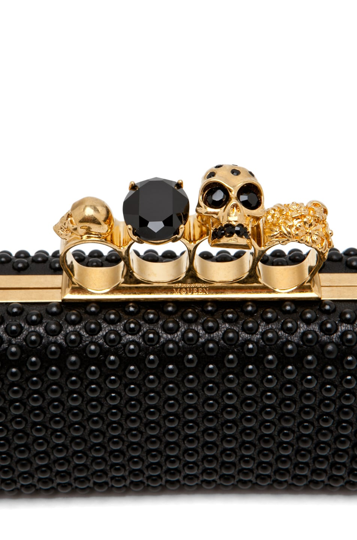 Image 5 of Alexander McQueen Knuckle Box Clutch in Black