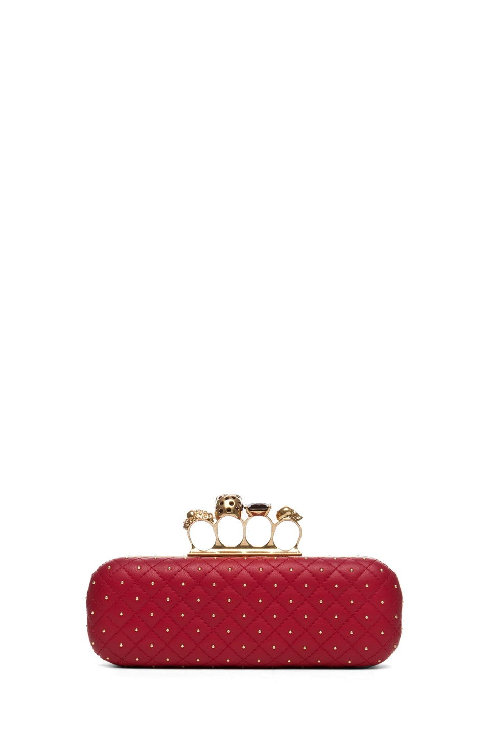 Image 2 of Alexander McQueen Knuckle Box Long Clutch in Cherry