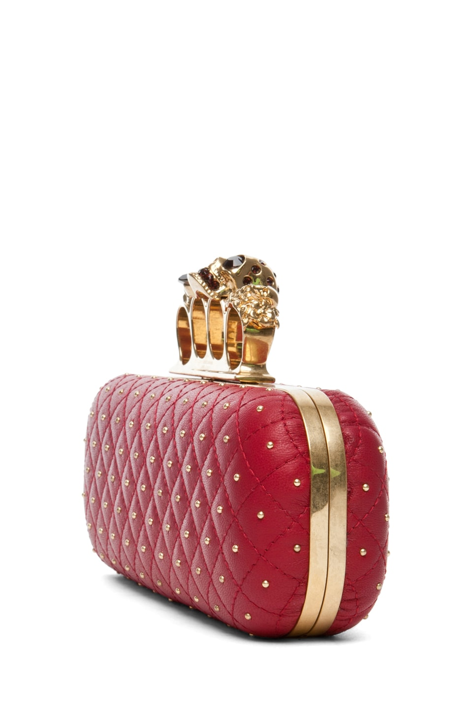 Image 3 of Alexander McQueen Knuckle Box Long Clutch in Cherry
