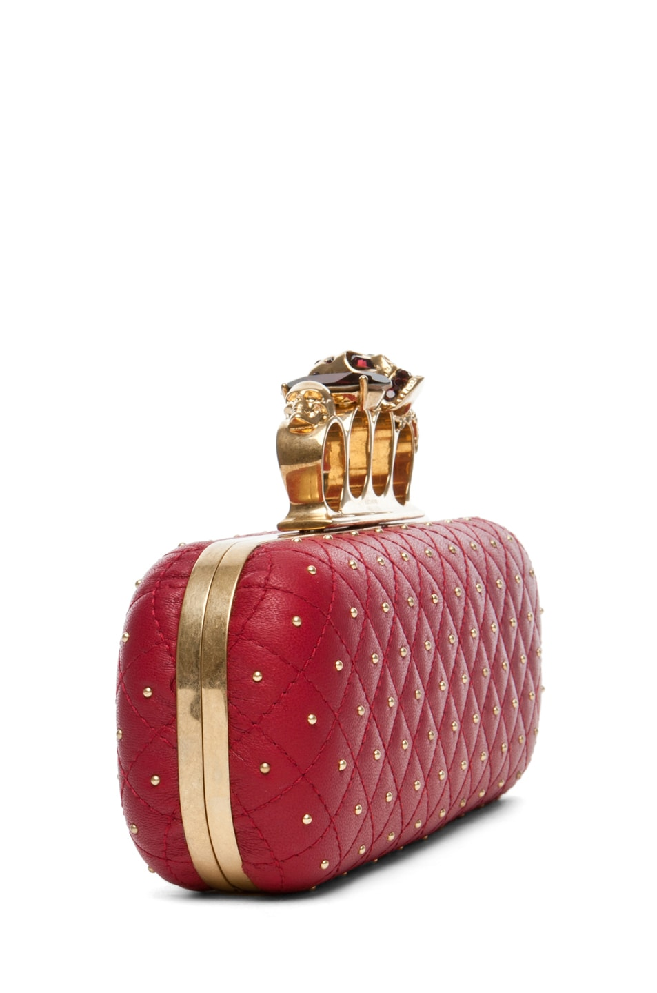 Image 4 of Alexander McQueen Knuckle Box Long Clutch in Cherry