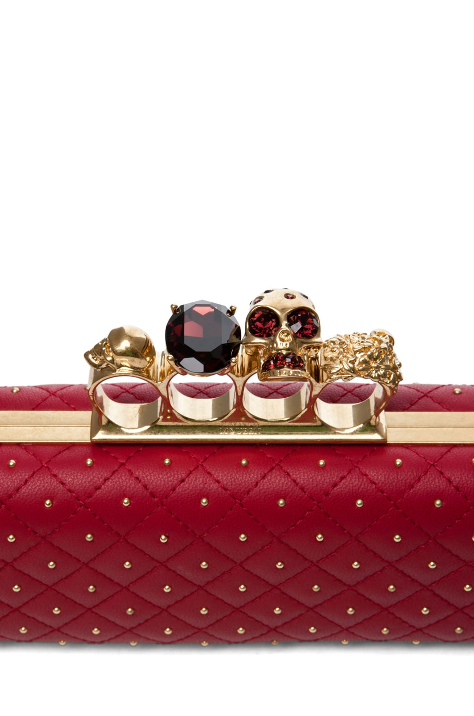 Image 5 of Alexander McQueen Knuckle Box Long Clutch in Cherry