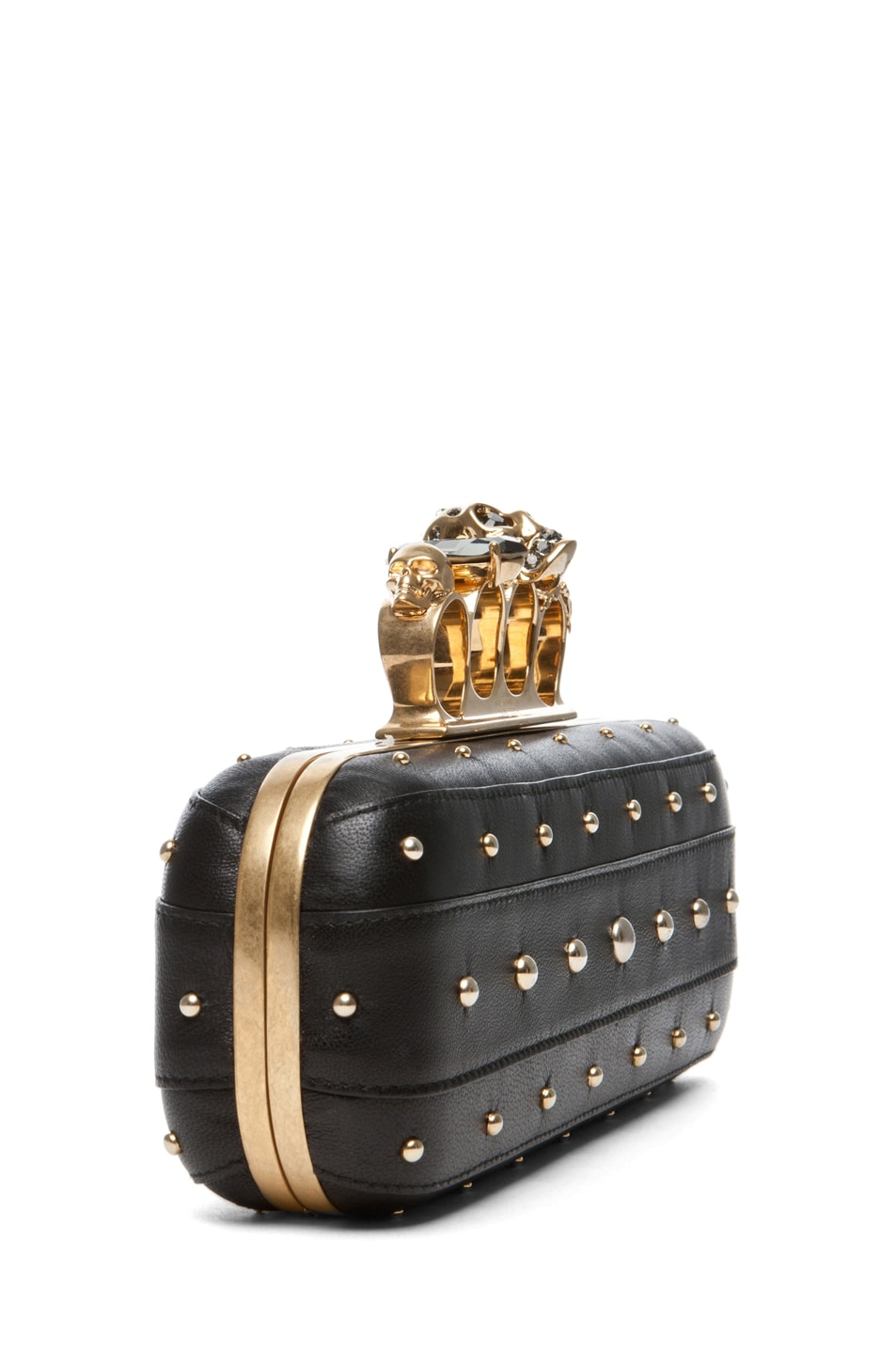 Image 4 of Alexander McQueen Knuckle Box Long Clutch in Black