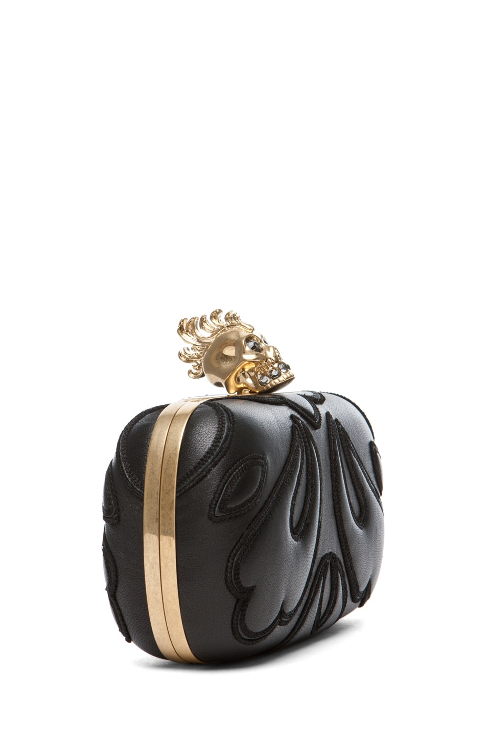 Image 3 of Alexander McQueen Punk Baroc Skull Box Clutch in Black
