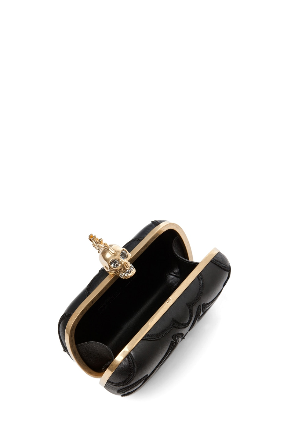 Image 4 of Alexander McQueen Punk Baroc Skull Box Clutch in Black