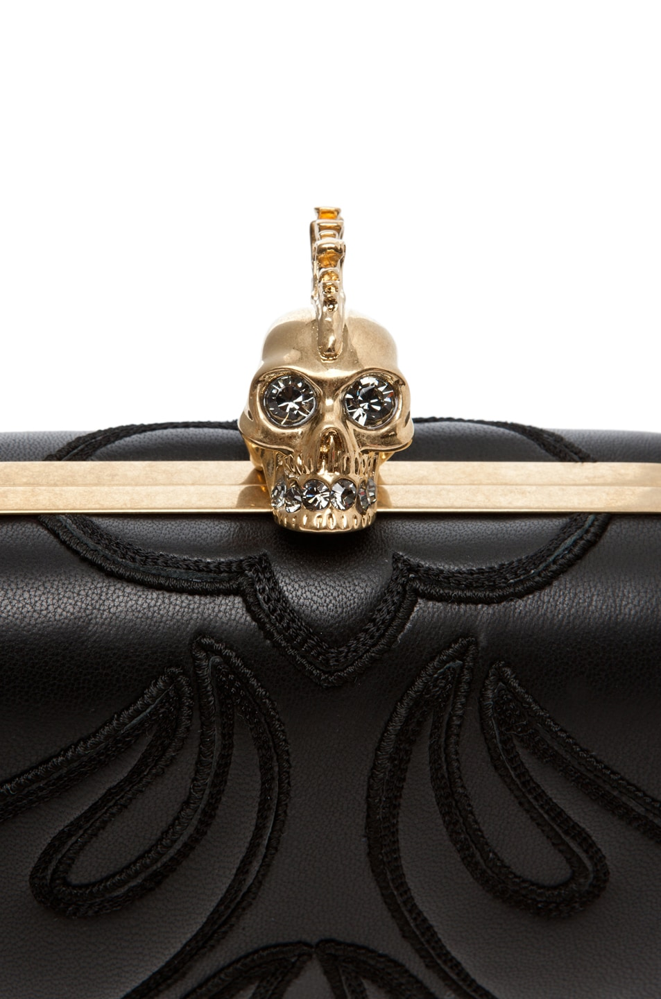 Image 5 of Alexander McQueen Punk Baroc Skull Box Clutch in Black