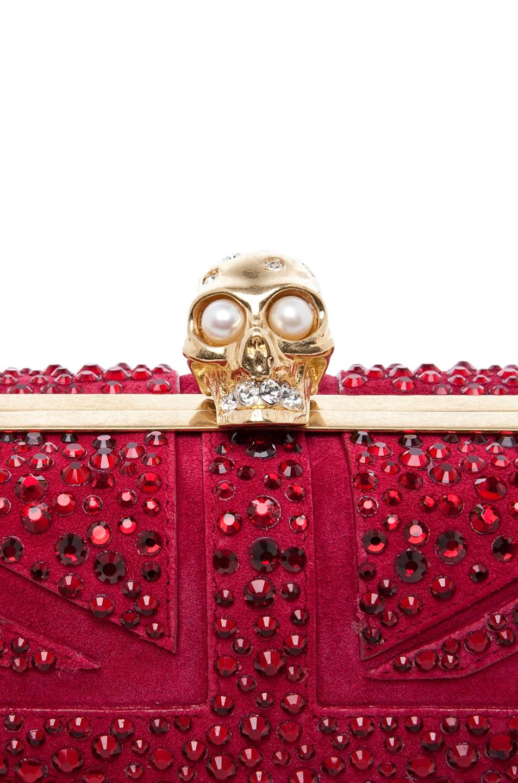 Image 5 of Alexander McQueen Britannia Skull Box Clutch in Dark Cherry