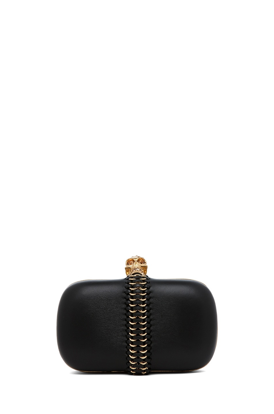 Image 1 of Alexander McQueen Classic Leather Skull Box Clutch in Black