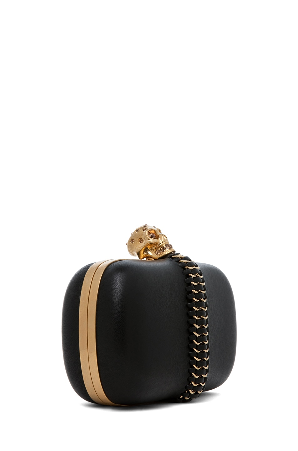 Image 3 of Alexander McQueen Classic Leather Skull Box Clutch in Black