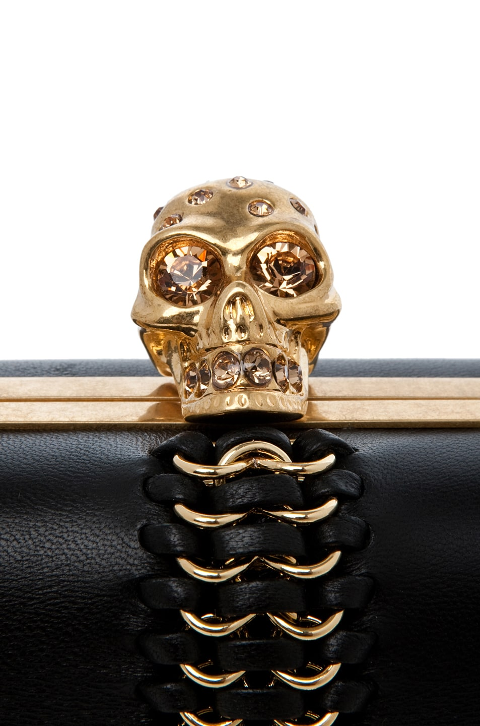 Image 4 of Alexander McQueen Classic Leather Skull Box Clutch in Black