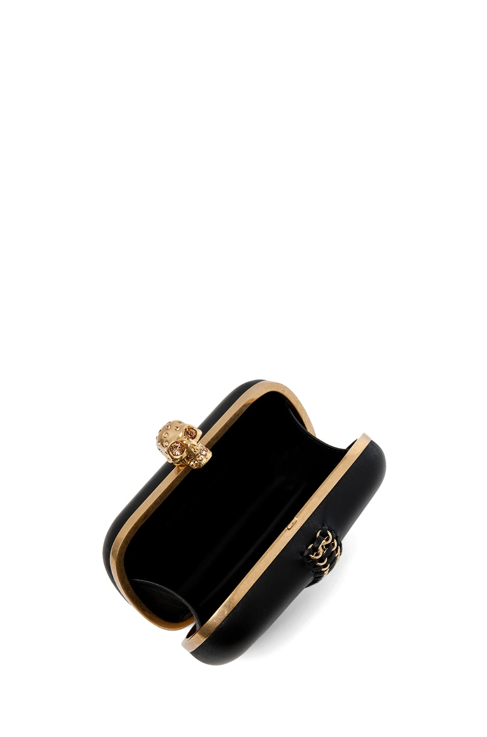 Image 5 of Alexander McQueen Classic Leather Skull Box Clutch in Black