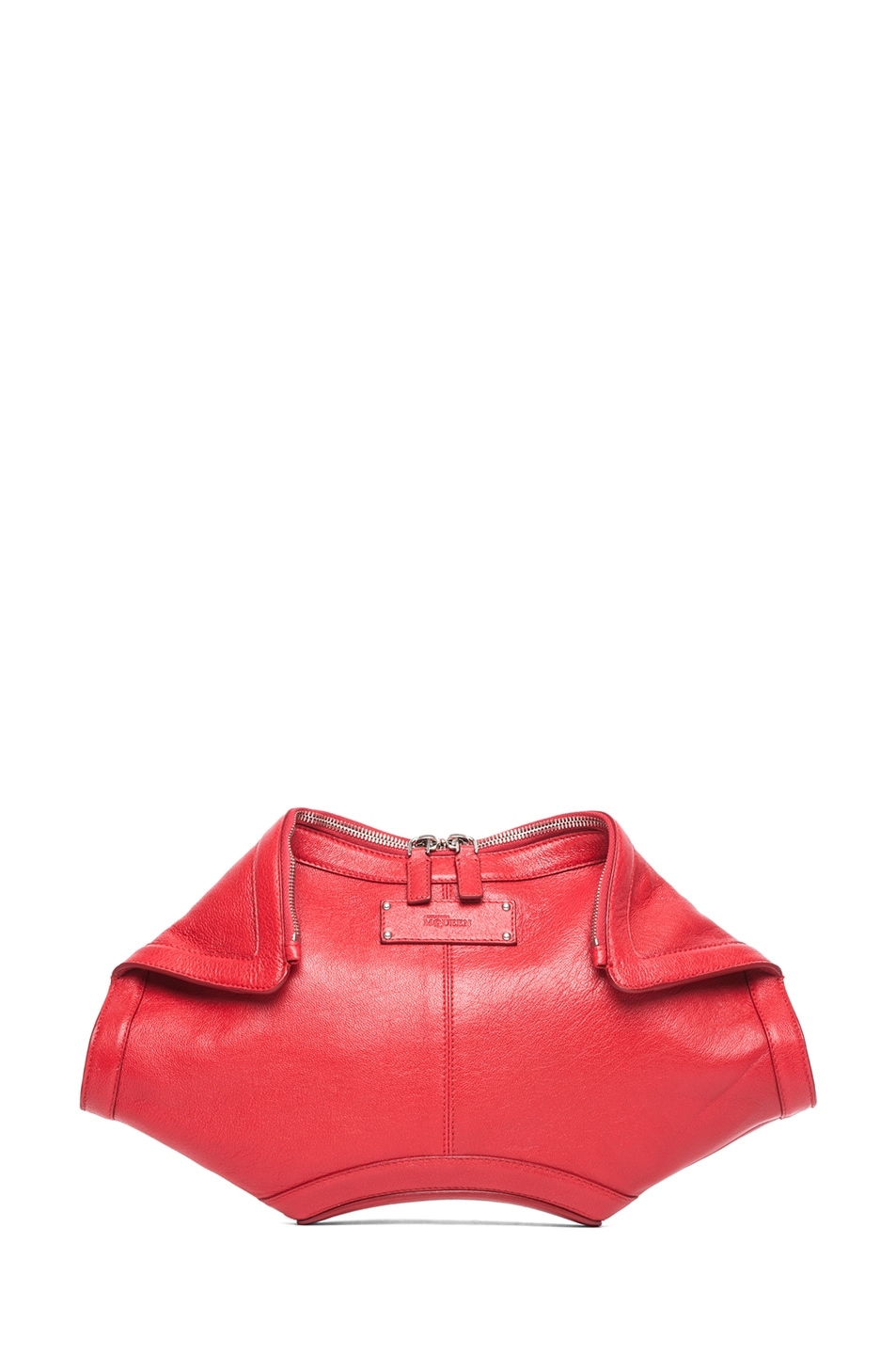 Image 1 of Alexander McQueen De Manta Clutch in Shiny Red