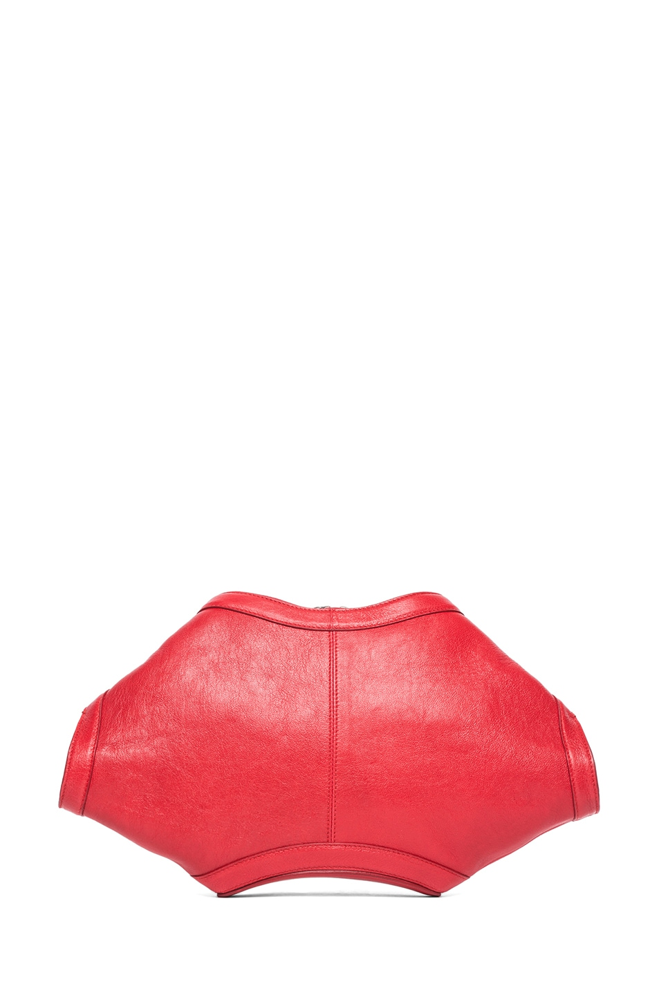 Image 2 of Alexander McQueen De Manta Clutch in Shiny Red