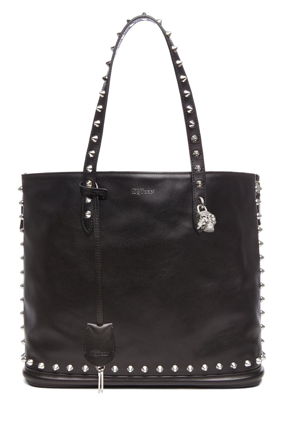 Image 1 of Alexander McQueen Stud Lined  Shopper with Skull Padlock in Black