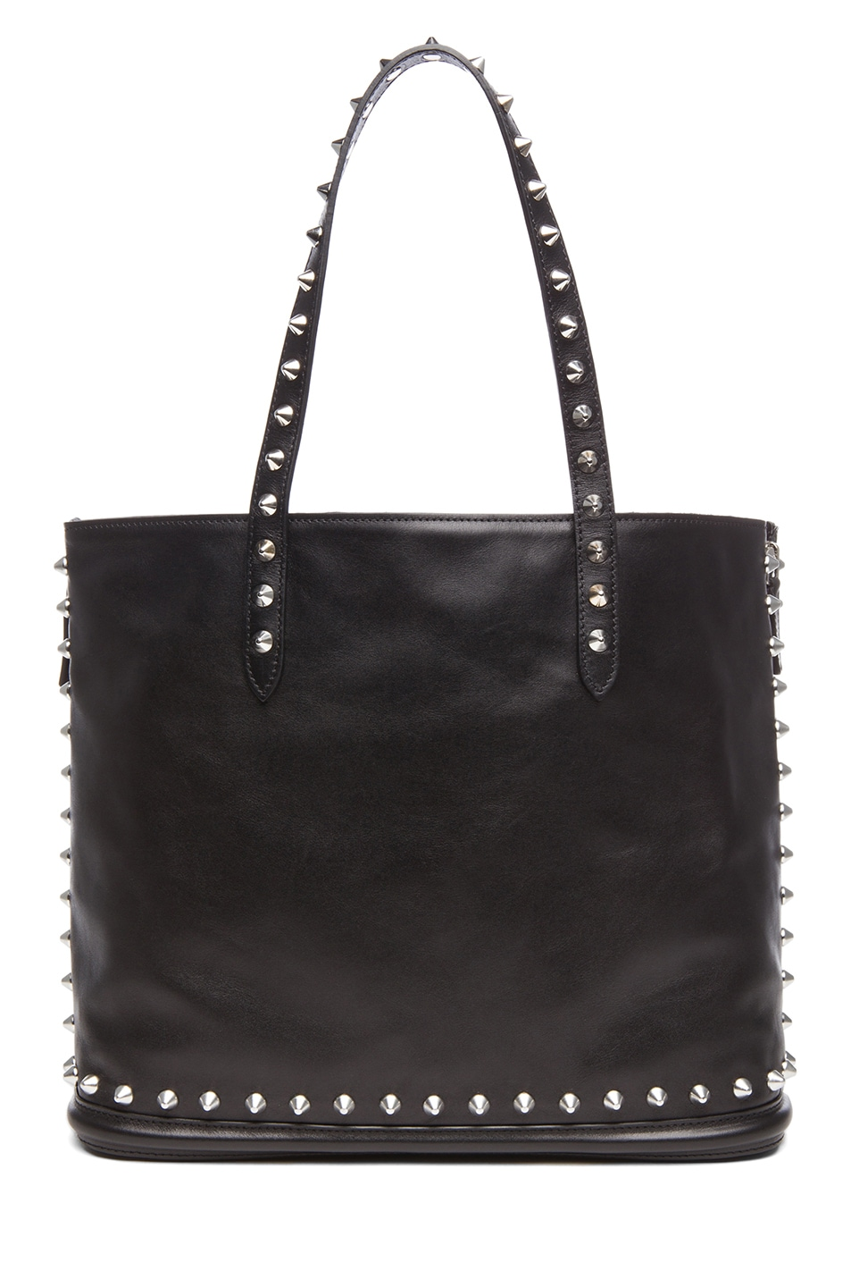 Image 2 of Alexander McQueen Stud Lined  Shopper with Skull Padlock in Black