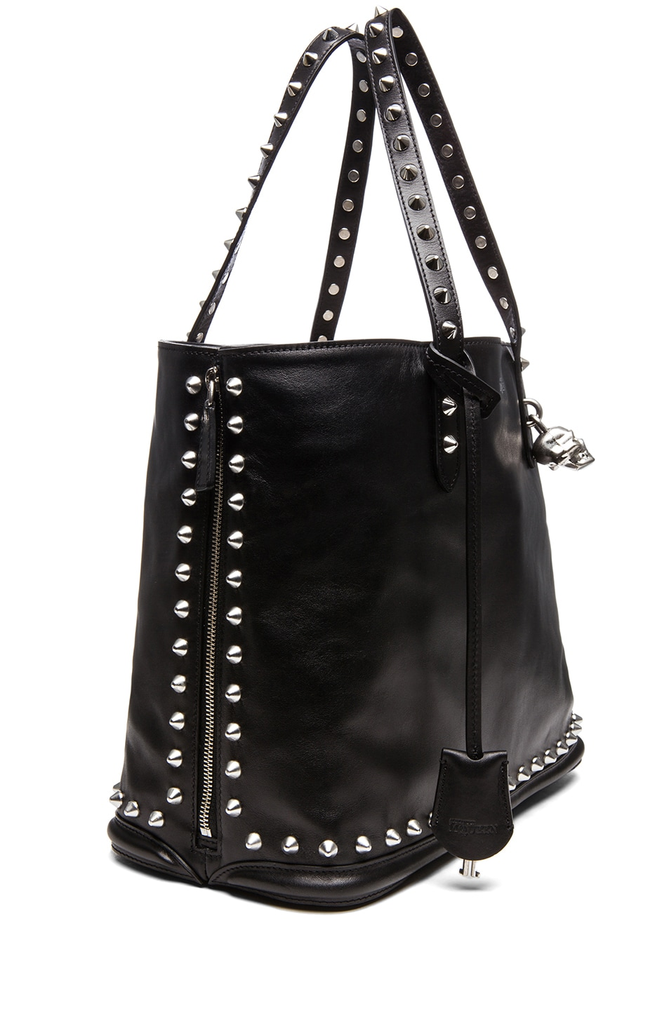 Image 3 of Alexander McQueen Stud Lined  Shopper with Skull Padlock in Black