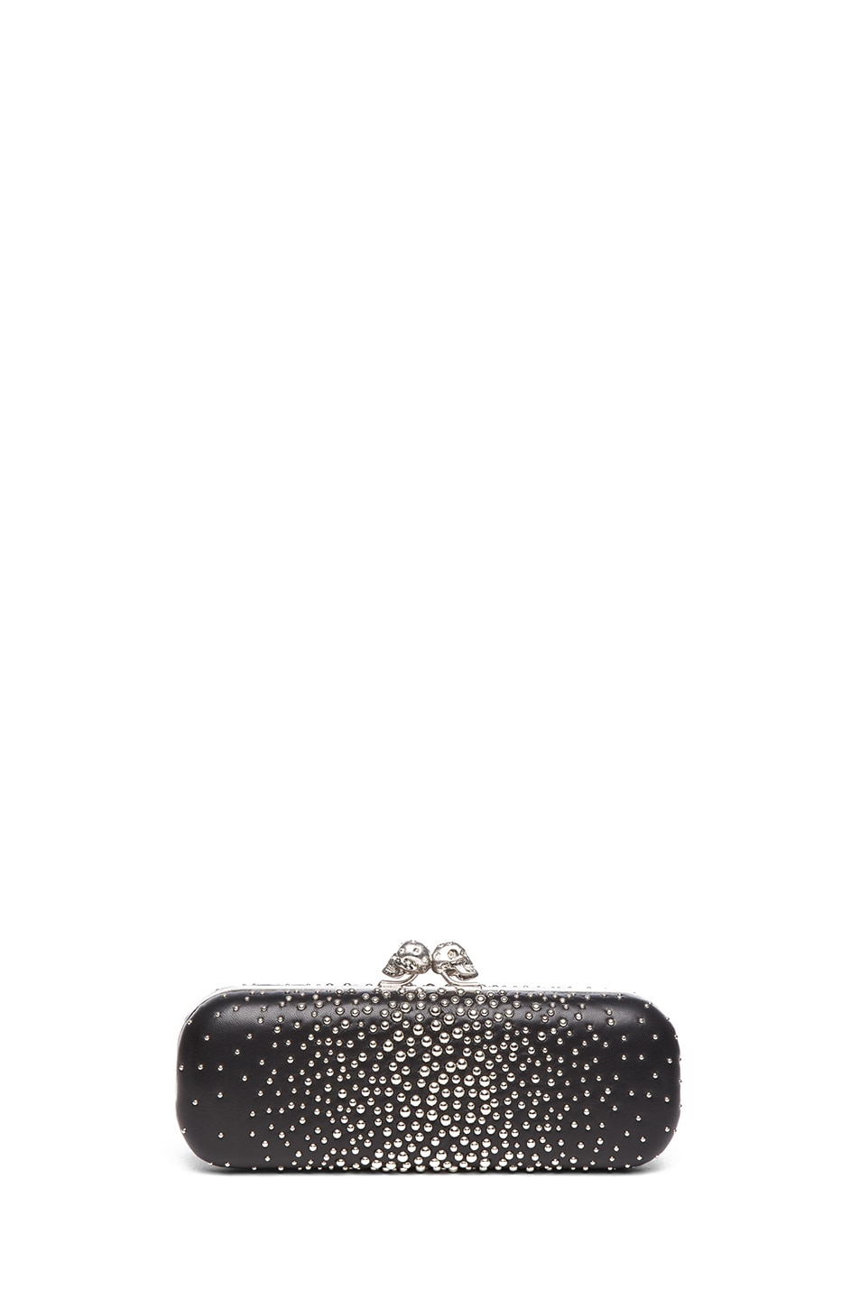 Image 1 of Alexander McQueen Twin Studded Skull Clutch in Black