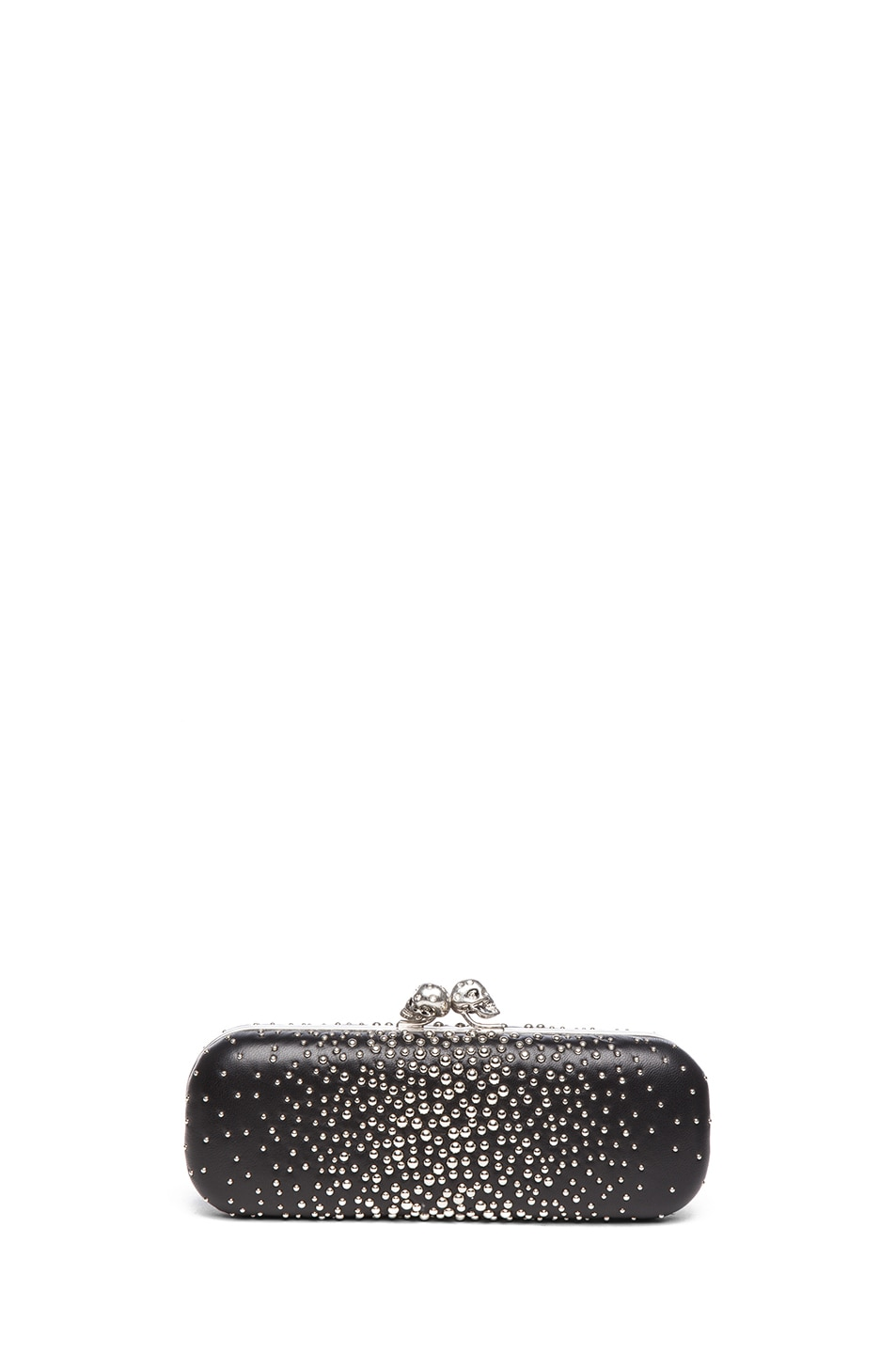 Image 2 of Alexander McQueen Twin Studded Skull Clutch in Black