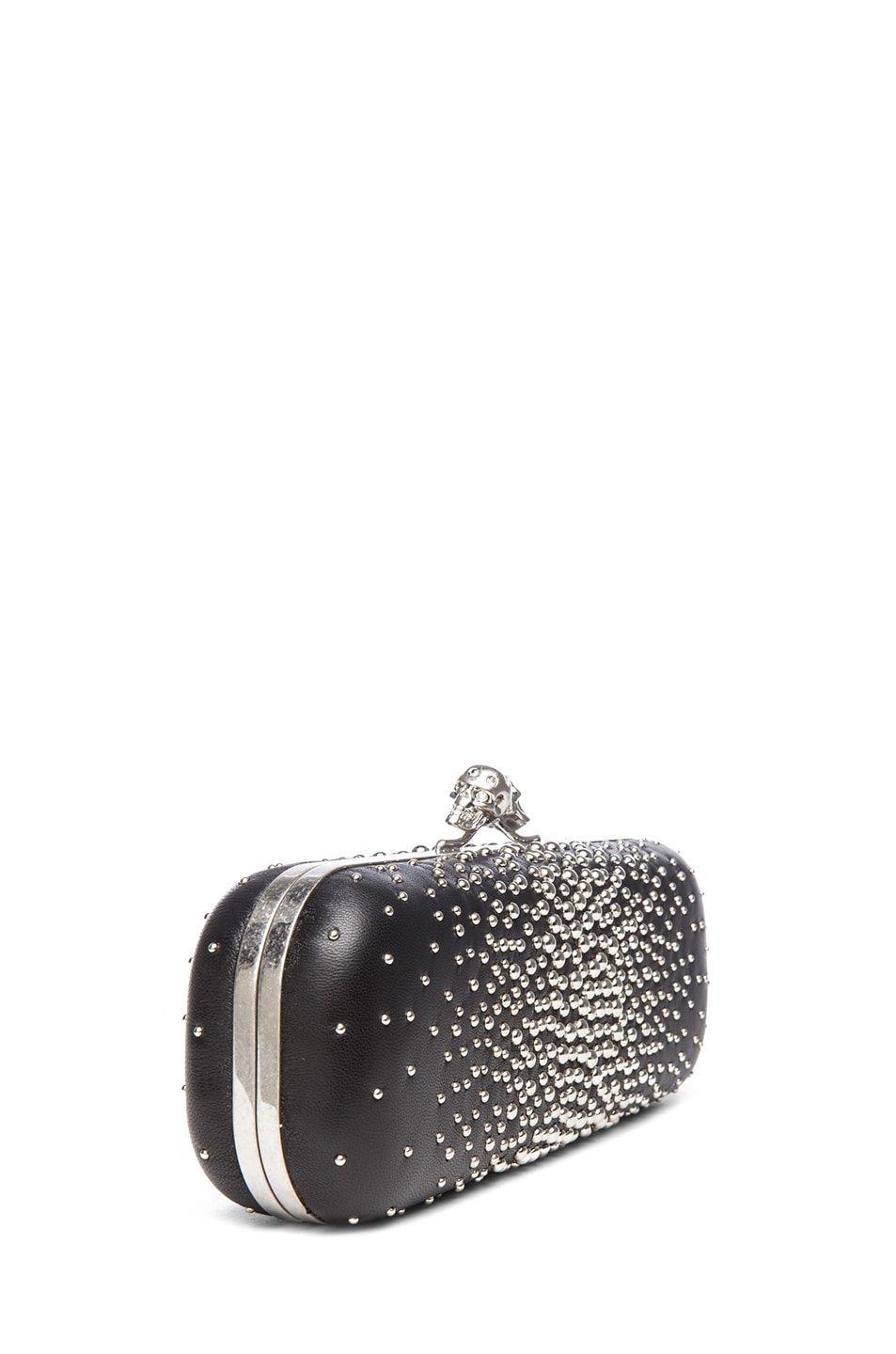Image 3 of Alexander McQueen Twin Studded Skull Clutch in Black
