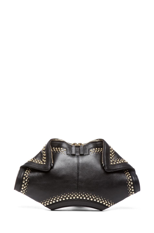 Image 1 of Alexander McQueen De Manta Studded Clutch in Black