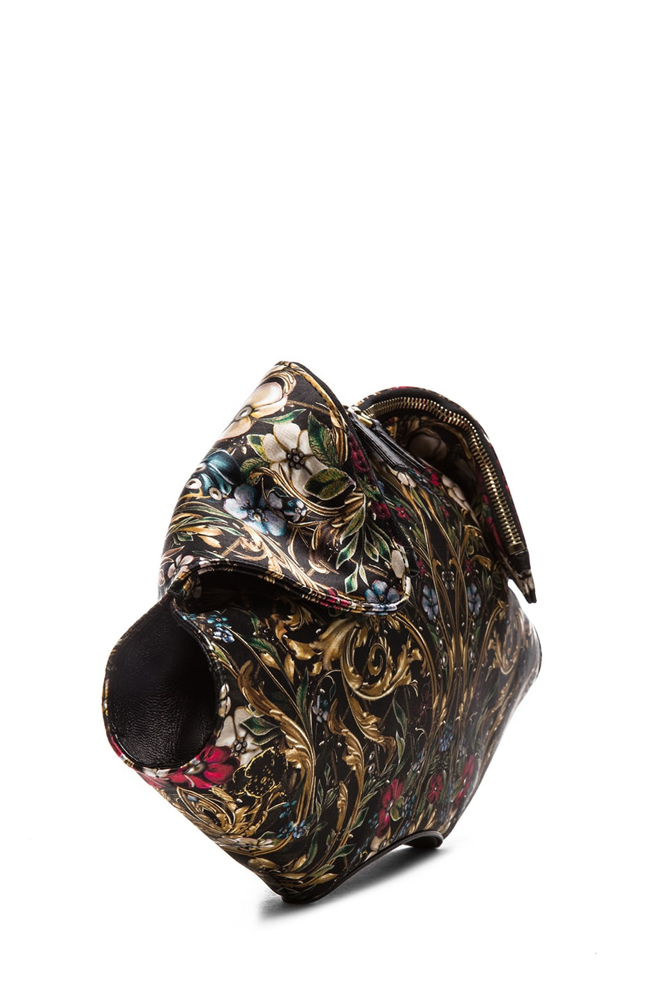 Image 3 of Alexander McQueen De Manta Floral Print Clutch in Black