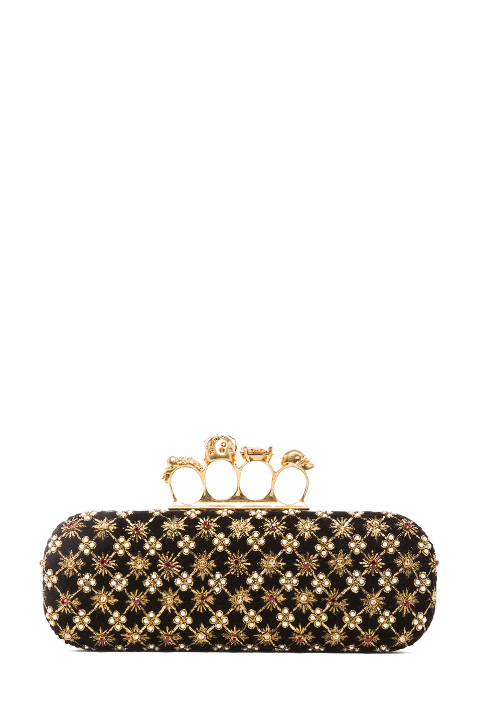 Image 2 of Alexander McQueen Embellished Knuckle Box Clutch in Multi