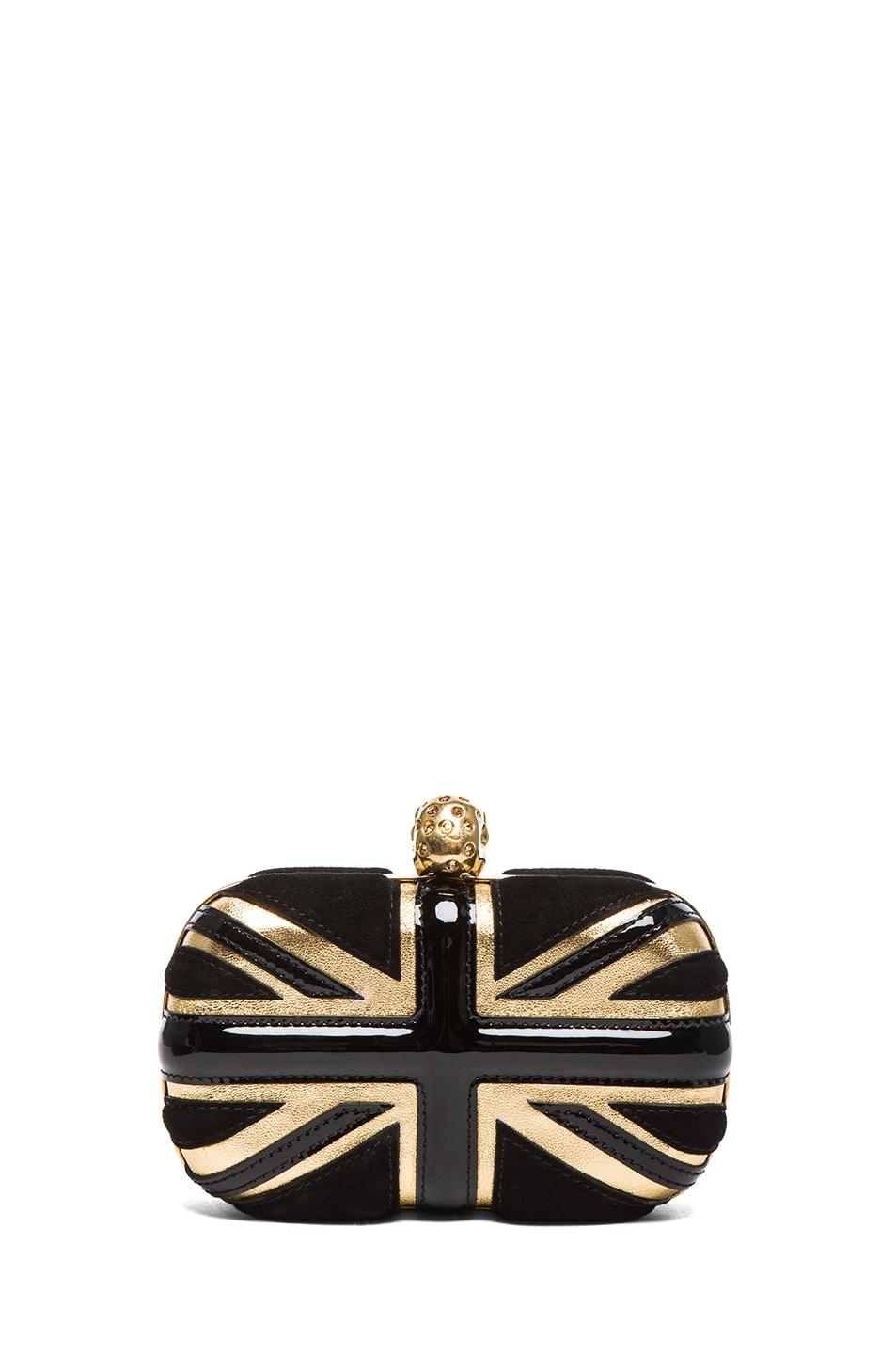 Image 2 of Alexander McQueen Britannia Skull Box Clutch in Gold & Black