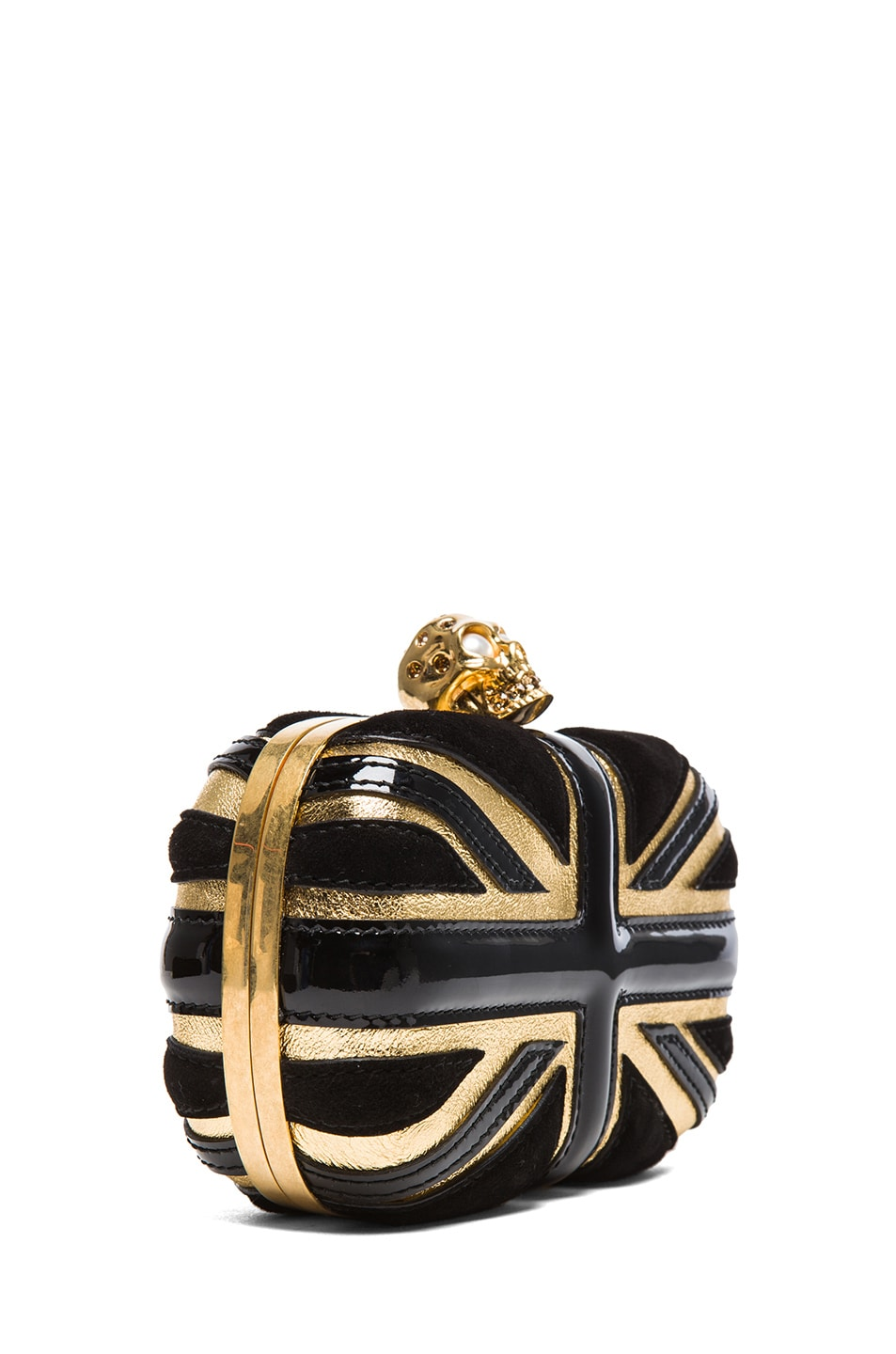 Image 3 of Alexander McQueen Britannia Skull Box Clutch in Gold & Black