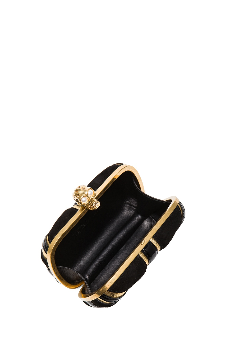 Image 4 of Alexander McQueen Britannia Skull Box Clutch in Gold & Black
