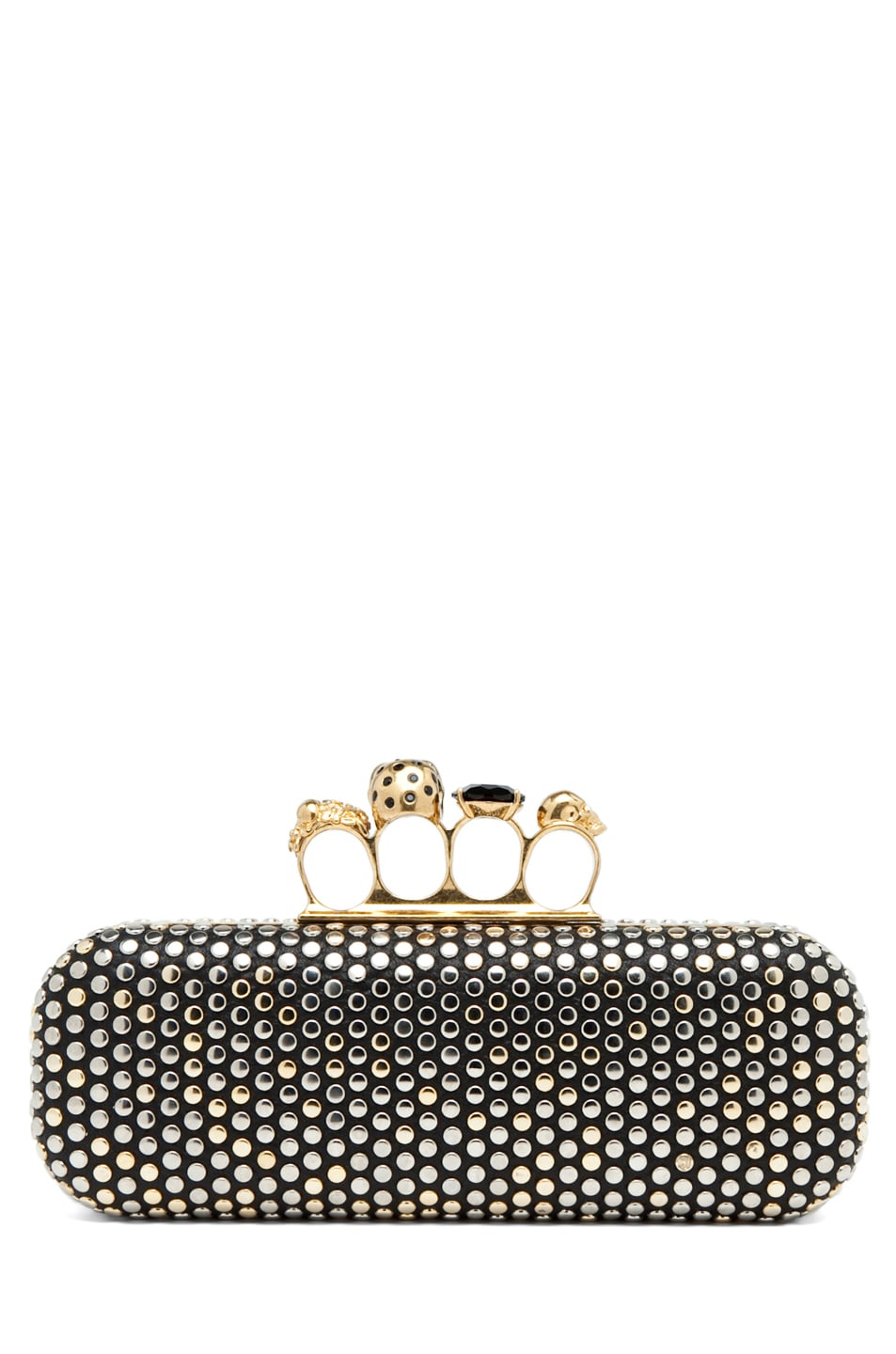 Image 2 of Alexander McQueen Knuckle Box Clutch in Black
