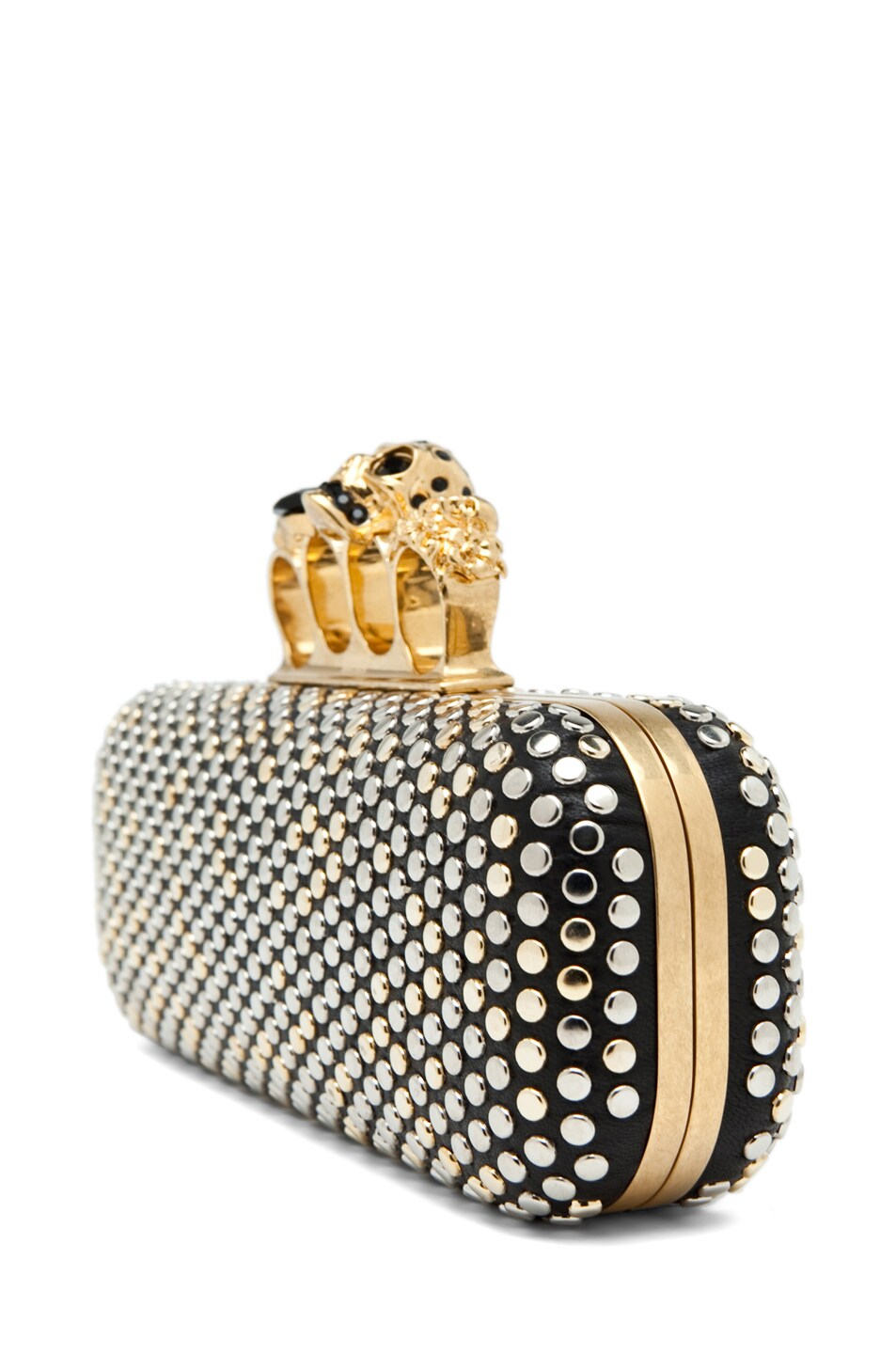 Image 3 of Alexander McQueen Knuckle Box Clutch in Black