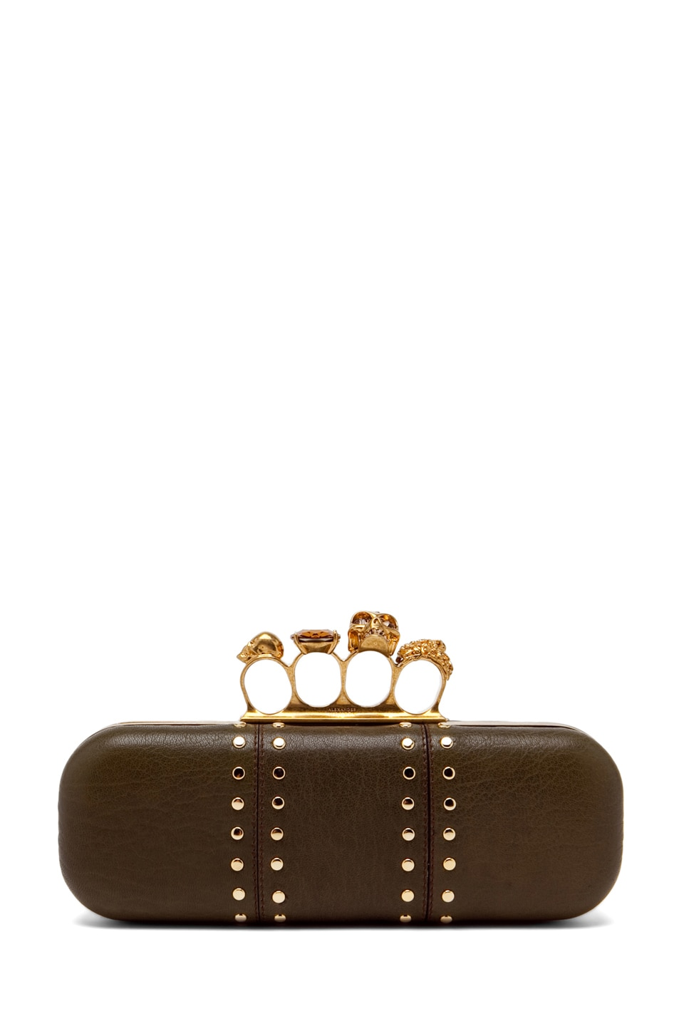 Image 1 of Alexander McQueen Knuckle Box Clutch in Olive Green