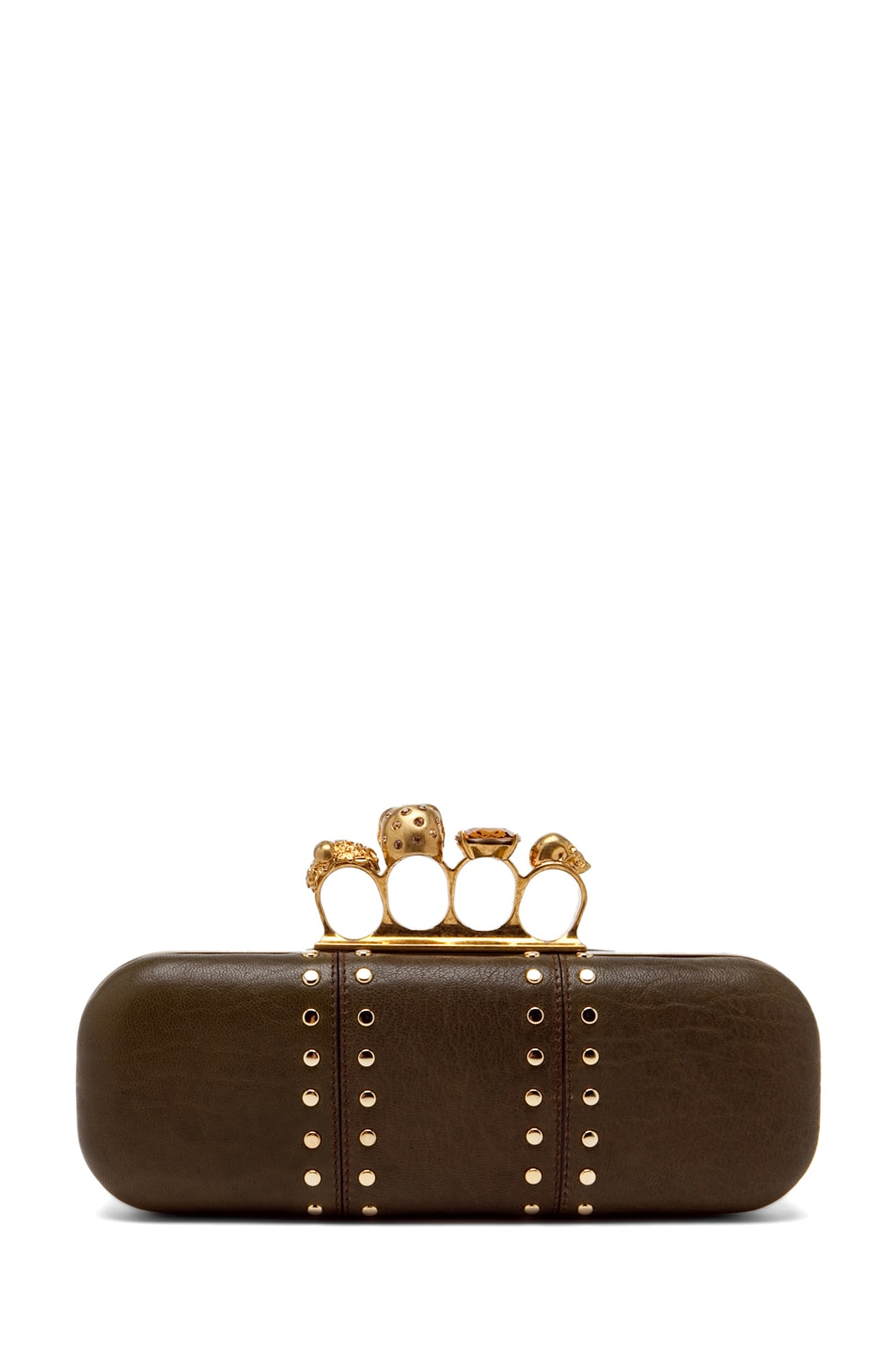 Image 2 of Alexander McQueen Knuckle Box Clutch in Olive Green