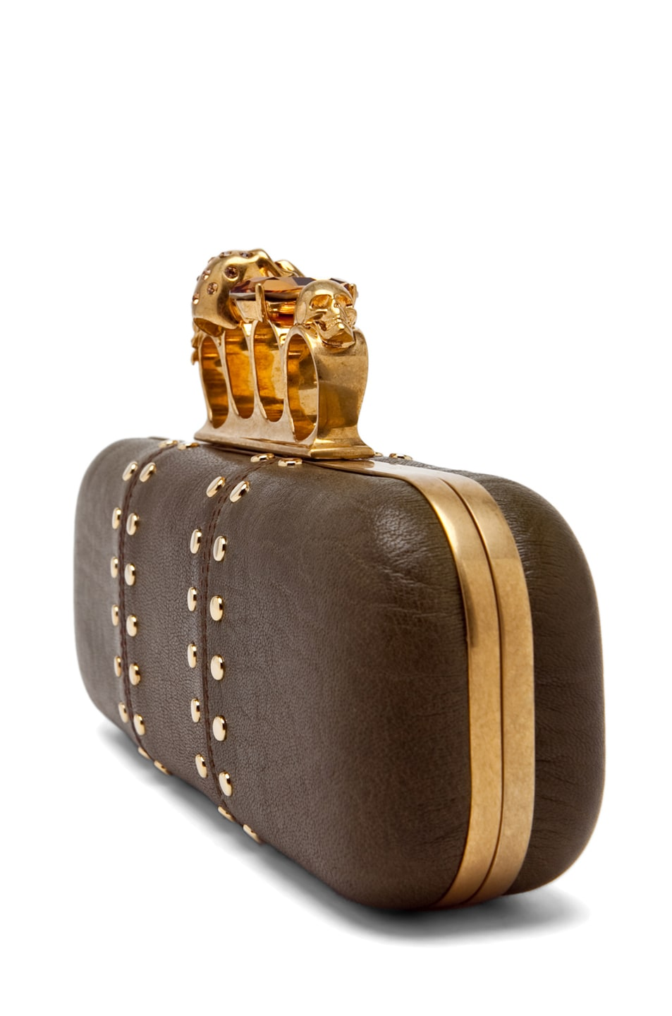 Image 3 of Alexander McQueen Knuckle Box Clutch in Olive Green