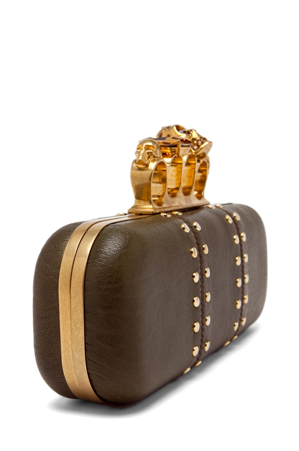 Image 4 of Alexander McQueen Knuckle Box Clutch in Olive Green