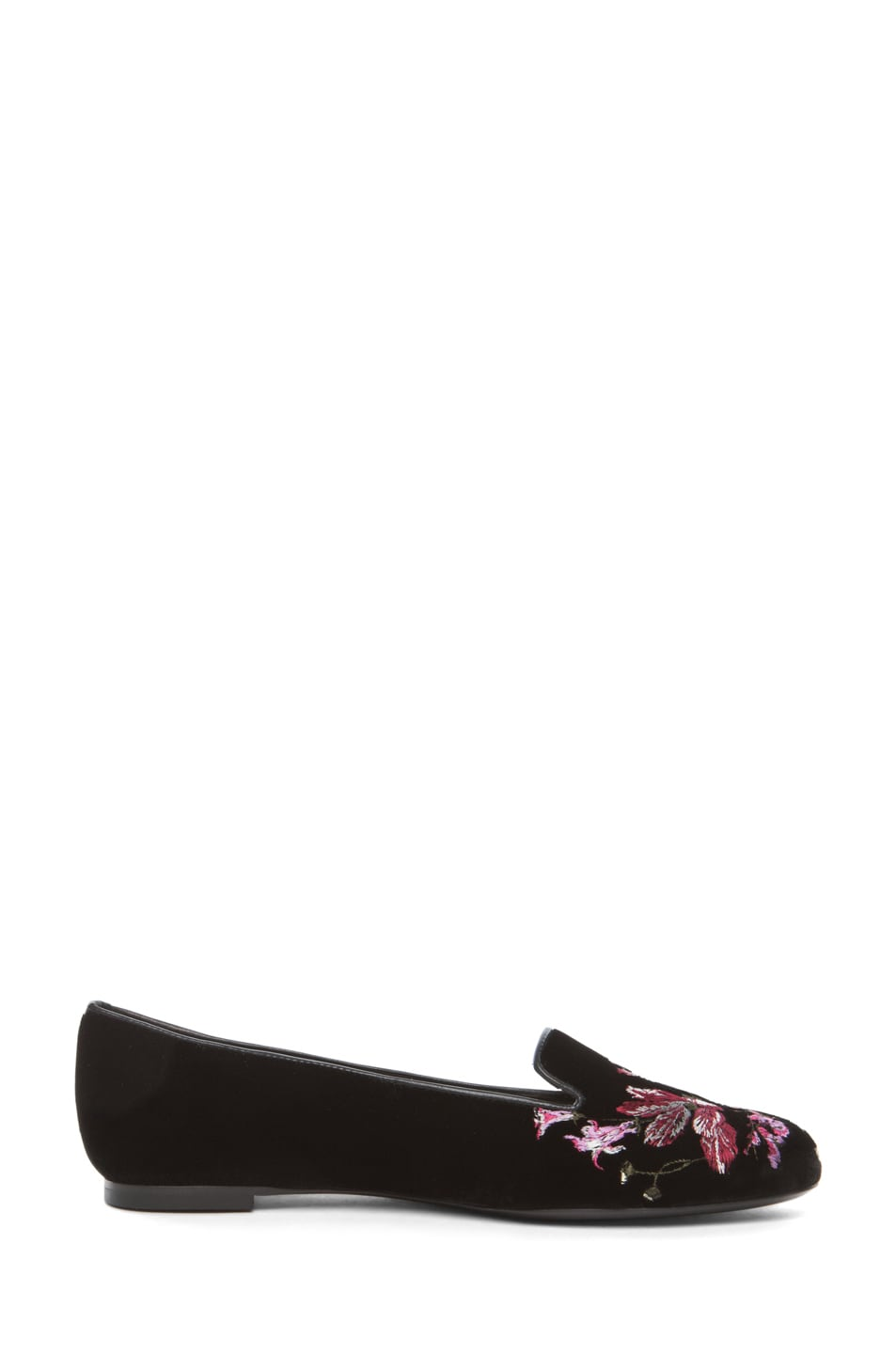 Image 5 of Alexander McQueen Velvet Hamlet Flower Slipper in Black