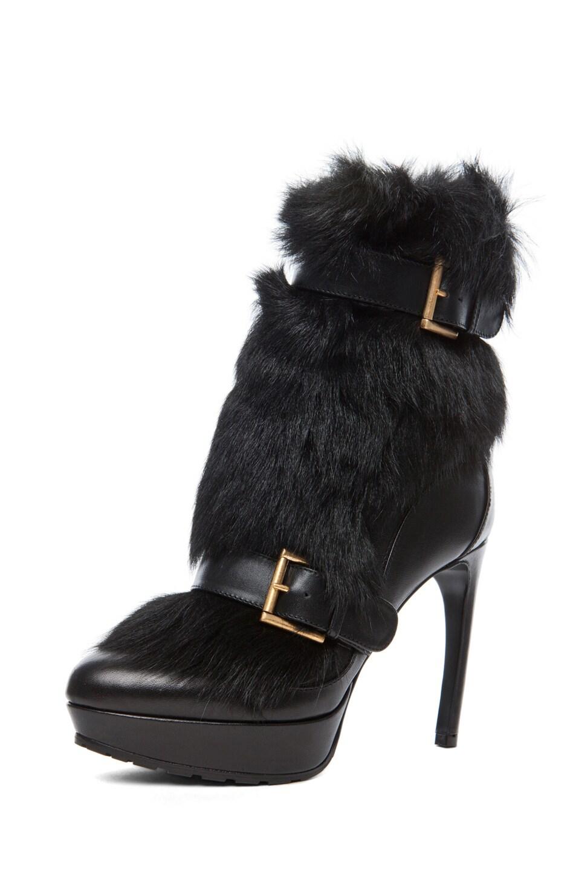 Image 2 of Alexander McQueen Long Hair Heel in Black