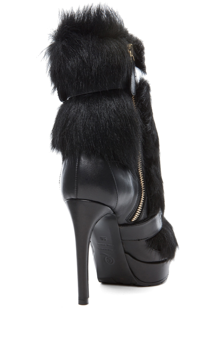 Image 3 of Alexander McQueen Long Hair Heel in Black