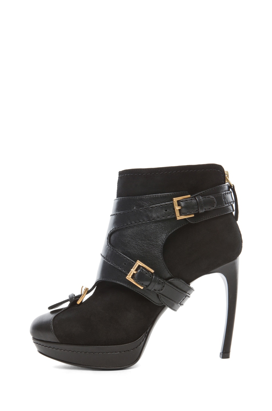 Image 1 of Alexander McQueen Leopold New Suede Bootie in Black