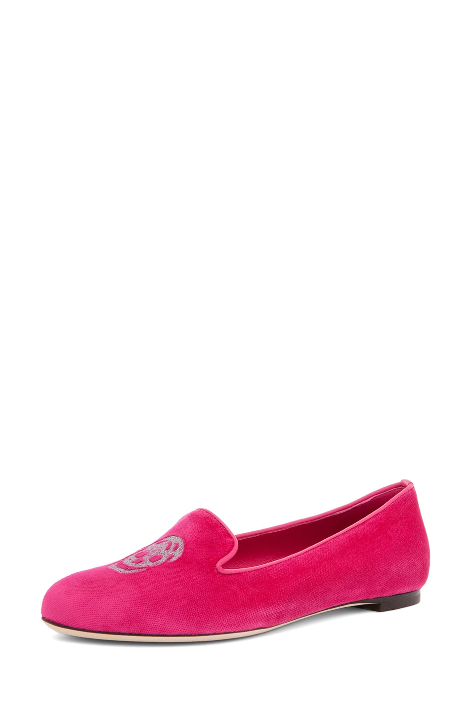 Image 2 of Alexander McQueen Velvet Slipper in Pink